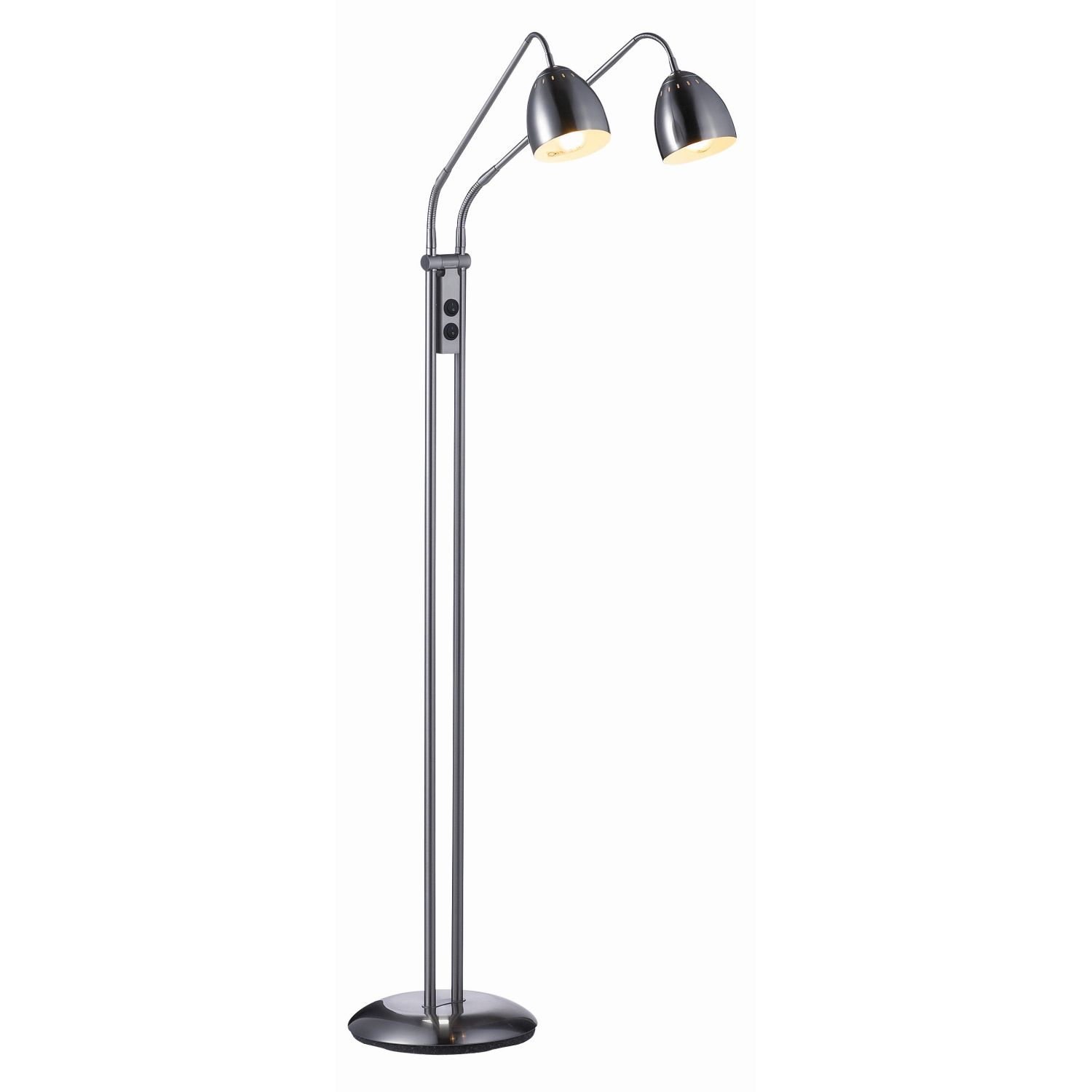 Modern Floor Lamp Standing Reading Light Black Chrome