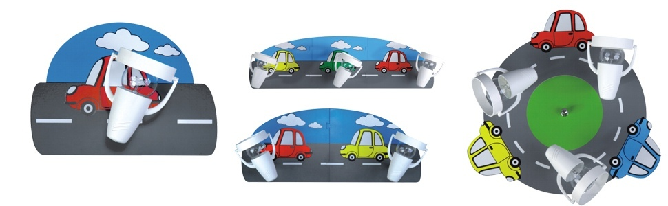 Kinder deckenlampe deckenleuchte leuchte lampe 4 flg car for Cars deckenlampe